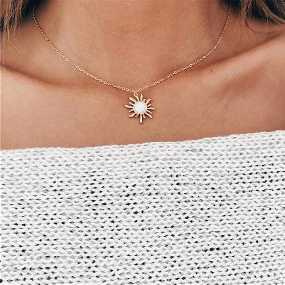 Jewelry New Rose Gold Sun Pendant Simple Necklace Poshmark